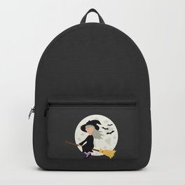 Cute Halloween Witch Girl Flying Cartoon Illustration Backpack
