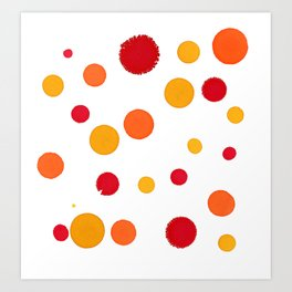 Red Orange Yellow Dots - Abstract Ink Painting Art Print