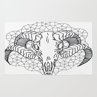 ram Area & Throw Rugs featuring ram skull by Dal Sohal