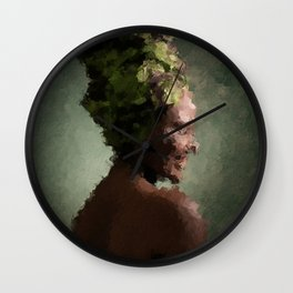digital oil painting of a laughing, faceless woman Wall Clock