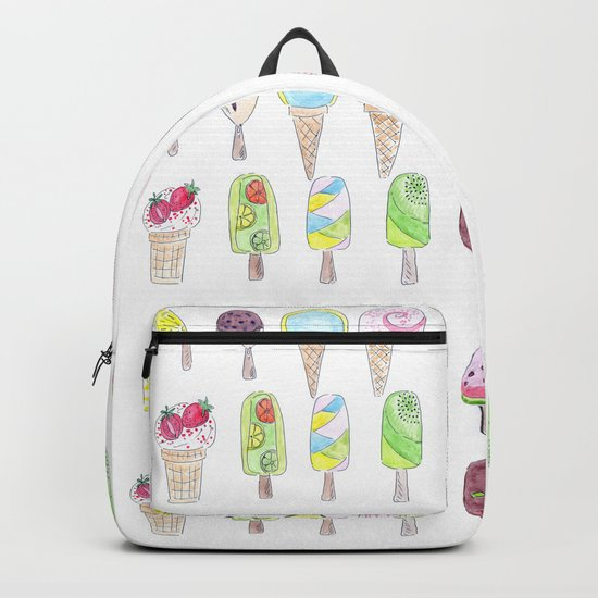 Watercolor. Ice cream . i Backpack