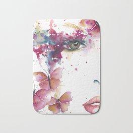 Girl with Purple Butterflies Bath Mat