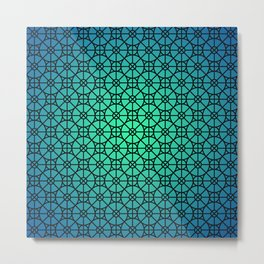 Morocco Pattern Blue Metal Print