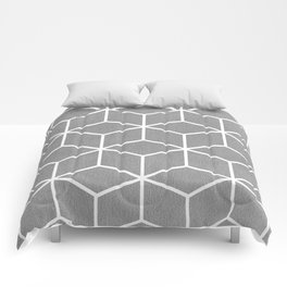 Light Grey and White - Geometric Textured Cube Design Comforters