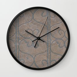 Blue Grey S Curve Curls Terracotta Wall Wall Clock