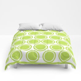Green Circles on White Comforters