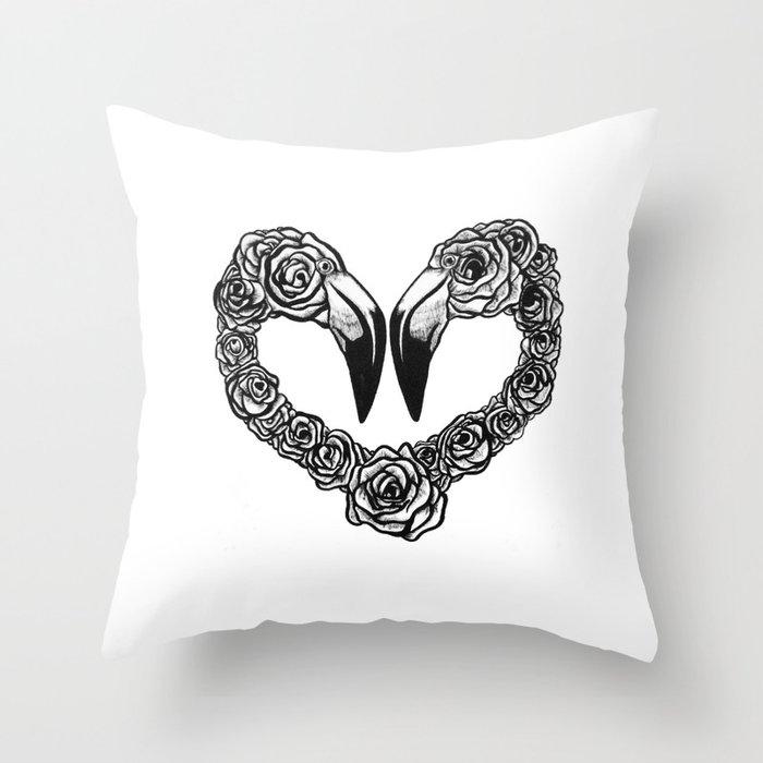 Flamingo Heart Throw Pillow