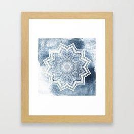 BLUEISH SEA FLOWER MANDALA Framed Art Print