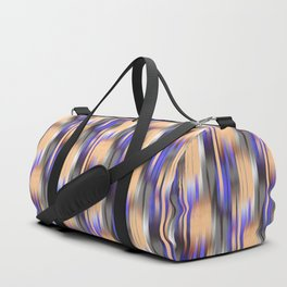 abstract ikat in mild orange and periwinkle blue Duffle Bag