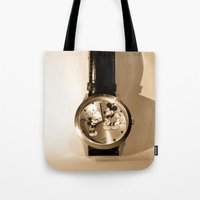 mickey Tote Bags featuring Mickey by Larry Bierce