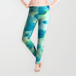 Blue, Green and Aqua Abstract Watercolor Painted Spots Leggings