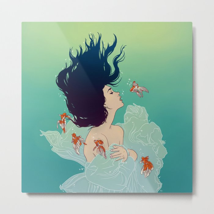 Underwater Lady Metal Print