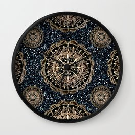 Black and White Sparkles & Rose Gold Mandala Textile Wall Clock