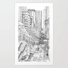 Hong Kong. China. escalatorb Art Print