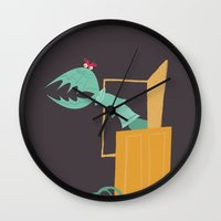 monsters inc Wall Clocks featuring Monsters, Inc. - Scary Doors by Federico Detor Simoni
