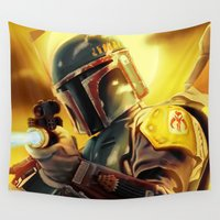 boba Wall Tapestries featuring Boba Fett by Andre Horton