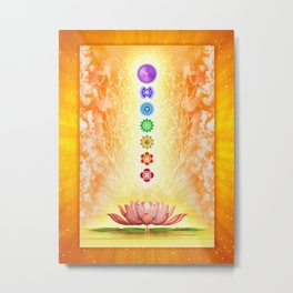 Sacred Lotus - The Seven Chakras .I Metal Print