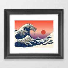 The Great Wave of English Bulldog Framed Art Print