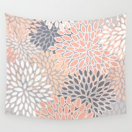 Flowers Abstract Print, Coral, Peach, Gray Wall Tapestry
