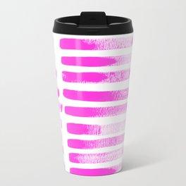 Raspberry Brush Strokes Travel Mug