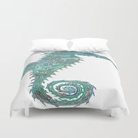 greg guillemin Duvet Covers featuring Seahorse Abstract by Greg Phillips by SquirrelSix