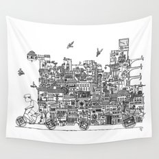 Busy City – On Your Bike Wall Tapestry