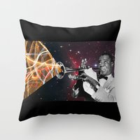 louis armstrong Throw Pillows featuring Louis Light (Digital Collage) by Jeff Taylor