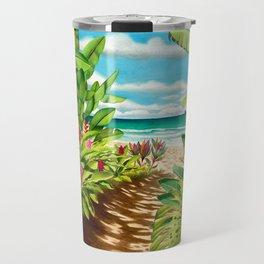 Floral Beach Path Travel Mug