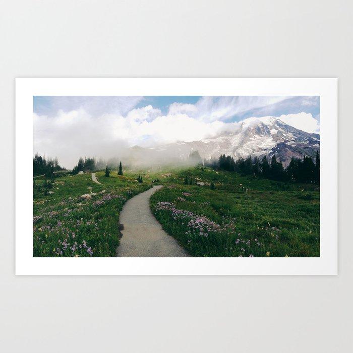 Mt Rainier Path Art Print