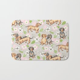 Dachshunds and dogwood blossoms Bath Mat