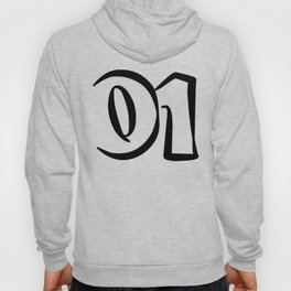 01 black on white Hoody