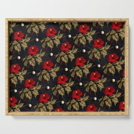 Red and Gold Hibiscus with Pearls Pattern Serving Tray