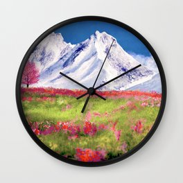Mountain landscape digital painting Wall Clock