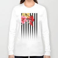 flora Long Sleeve T-shirts featuring FLORA BOTANICA | stripes by Cheryl Daniels