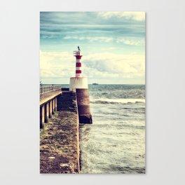 Amble Pier Lighthouse Canvas Print