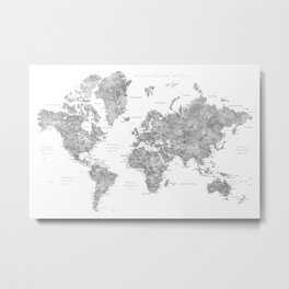 "Watercolor world map with LABELS IN SPANISH, ""Jimmy"" Metal Print"