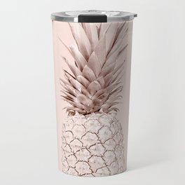 Rose Gold Pineapple on Blush Pink Travel Mug