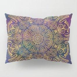 Gold Mandala on Colorful Cosmic Background Pillow Sham