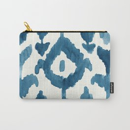 Painterly Flower Ikat Indigo Carry-All Pouch