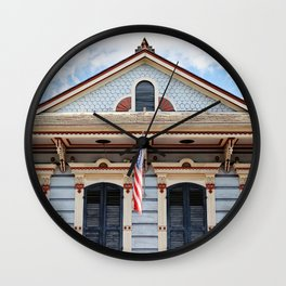 New Orleans American Creole Cottage Wall Clock