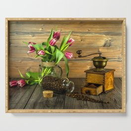 Coffee Grinder plus Jar of Beans and Tulips Serving Tray