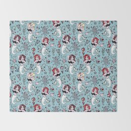 Molly Mermaid vintage pinup inspired nautical tattoo Throw Blanket