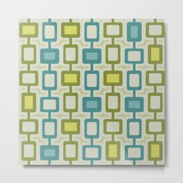 Mid Century Modern Square Columns Turquoise Chartreuse Metal Print