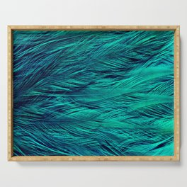 Teal Feathers Serving Tray