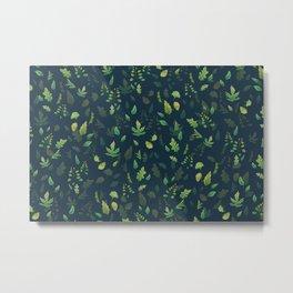 Green Leaves on Blue Metal Print