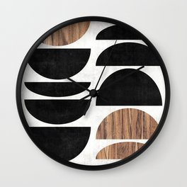 Mid-Century Modern Pattern No.7 - Concrete and Wood Wall Clock
