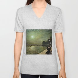 Reflections on the Thames River, London by John Atkinson Grimshaw Unisex V-Neck