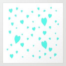 Hand-Drawn Hearts (Turquoise & White Pattern) Art Print