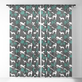 Greyt Greyhound Silhouette with Monstera Leaf on Black Smaller Scale Sheer Curtain