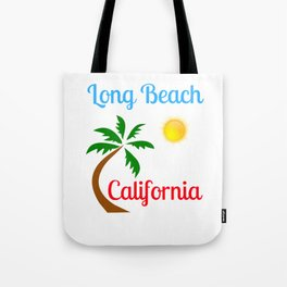Long Beach California Palm Tree and Sun Tote Bag